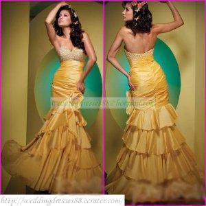 Free Shipping Hot Sale 2012 Strapless Yellow Taffeta Ruffled Beaded Party Dress Prom Dress