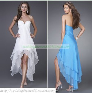 Free Shipping 2012 Strapless White Black Blue Chiffon Beaded Bridesmiad Dress Cocktail Dress