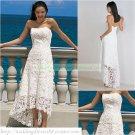 Strapless White Lace Short Wedding Dress Beaded Tea-length Beach Wedding Dress