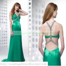 2012 Free Shipping Double Straps Green Stretch Satin Ruffled Beaded Evening Dress Party Dress