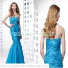 2012 Free Shipping Strapless Blue Taffeta Ruffled Beaded Mermaid Evening Dress Party Dress