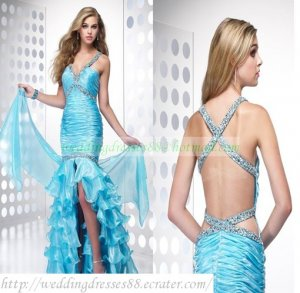 2012 Free Shipping Double Straps Blue Organza Ruffled Beaded Mermaid Evening Dress Party Dress