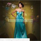 2012 Free Shipping Strapless Blue Taffeta Ruffled Beaded Empire Maternity Evening Dress Party Dress