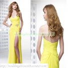 2012 Hot Sale Free Shipping Strapless Yellow Chiffon Ruffled Beaded Evening Dress Party Dress