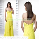 Free Shipping Strapless Yellow Chiffon Ruffled Beaded Empire Maternity Evening Dress Party Dress