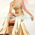 2012 Free Shipping One Shoulder Gold Satin Ruffled Beaded Evening Dress Party Dress