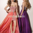 2012 Free Shipping Strapless Pink Satin Chiffon Ruffled Beaded Cocktial Dress Evening Dress