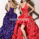 Free Shipping One Shoulder Purple Red Taffeta Ruffled Beaded Evening Dress Party Dress