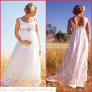 2011 Free Shipping Double Straps White Chiffon Empire Maternity Bridal Gown Beaded Wedding Dress