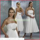 Free Shipping Strapless White Organza Empire Maternity Tea-length Ruffled Beaded Wedding Dress