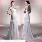 Free Shipping One Shoulder White Chiffon Empire Maternity Bridal Gown Ruffled Beaded Wedding Dress