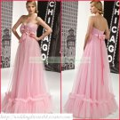 Free Shipping Strapless Pink Organza Empire Maternity Bridal Gown Ruffled Beaded Wedding Dress