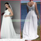 Free Shipping Double Straps White Chiffon Empire Maternity Bridal Gown  Beaded Wedding Dress H019