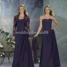 3/4 Sleeves Lace Jacket Purple Strapless Ruffled  Floor Length Bridesmaid Dress