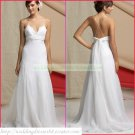 Free Shipping Double Spaghetti White Chiffon Empire Maternity Bridal Gown Lace Beaded Wedding Dress