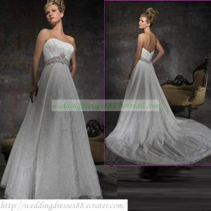 2011 Free Shipping Strapless White Lace Empire  Bridal Gown Beaded Wedding Dress