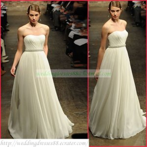 2011 Free Shipping Strapless White Chiffon Empire Maternity Bridal Gown Ruffled Beaded Wedding Dress