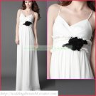 Free Shipping Double Spaghetti White Chiffon Empire Maternity Bridal Gown Black Flower Wedding Dress