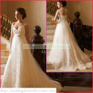 2011 Double Spaghetti White Organza Empire Maternity Bridal Gown Applique Beaded Wedding Dress