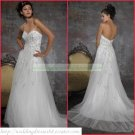 Free Shipping Strapless White Organza Empire Maternity Bridal Gown Applique Beaed Wedding Dress