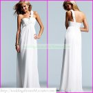 Free Shipping One Shoulder White Chiffon Empire Maternity Bridal Gown Hand Flower Wedding Dress