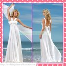 Free Shipping Double Straps White Chiffon Empire Maternity Bridal Gown Ruffled Beaded Wedding Dress