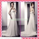 Free Shipping Strapless White Chiffon Empire Maternity Bridal Gown Applique Beaded Wedding Dress