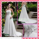 Free Shipping Strapless White Chiffon Empire Maternity Bridal Gown Ruffled Beaded Wedding Dress H050