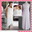 Free Shipping Halter White Chiffon Empire Maternity Bridal Gown Applique Beaded Wedding Dress H052