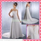 Free Shipping Strapless White Chiffon Empire Maternity Bridal Gown Ruffled Beaded Wedding Dress H054