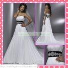 Free Shipping Strapless White Chiffon Empire Maternity Ruffled Black Belt Beaded Wedding Dress H057