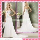 Free Shipping Strapless White Chiffon Empire Maternity Ruffled Beaded Wedding Dress H058