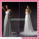 Free Shipping Strapless White Chiffon Empire Maternity Silver Belt Beaded Wedding Dress H060