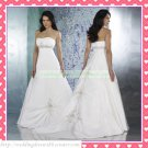 2012 Hot Sale Free Shipping Strapless White Taffeta Empire Maternity Ruffled Beaded Wedding Dress