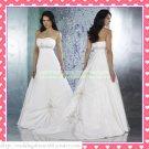 2012 Hot Sale Free Shipping Strapless White Taffeta Empire Maternity Ruffled Beaded Wedding Dress