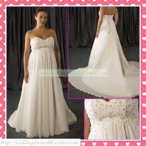2012 Hot Sale Free Shipping Strapless White Chiffon Empire Maternity Applique Beaded Wedding Dress