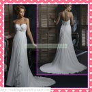 2012 Free Shipping Strapless White Chiffon Empire Maternity Ruffled Beaded Wedding Dress H068