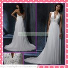 2012 Free Shipping Halter White Chiffon Empire Maternity Embroidery Beaded Wedding Dress H069