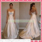 Strapless White Satin Empire Maternity Applique Beaded Wedding Dress Bridal Gown H070
