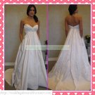 Strapless White Taffeta Empire Maternity Ruffled Applique Beaded Wedding Dress Bridal Gown H071