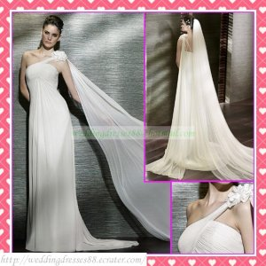 One Shoulder White Chiffon Empire Maternity Bridal Dress Ruffled Beaded Wedding Dress Bridal Gown