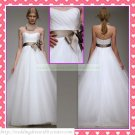 Strapless White Organza Gray Belt Empire Maternity Bridal Dress Ruffled Beaded Wedding Dress