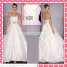 Strapless White Taffeta Belt Empire Maternity Bridal Dress Ruffled Beaded Wedding Dress H076