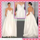 Double Spaghetti White Satin Empire Maternity Bridal Dress Ruffled Beaded Wedding Dress H077