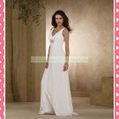 Double Straps V-neck  White Chiffon Empire Maternity Beaded Wedding Dress H079