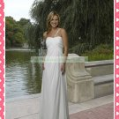 One Shoulder White Chiffon Empire Maternity Bridal Dress Ruffled Beaded Wedding Dress H080