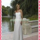 One Shoulder White Chiffon Empire Maternity Bridal Dress Ruffled Beaded Wedding Dress H080