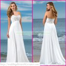 Strapless White Chiffon Empire Maternity Bridal Dress Applique Beaded Beach Wedding Dress H082