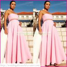 Strtapless Pink Chiffon Empire Maternity Bridal Dress Beaded Wedding Dress Bridal Gown