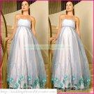 Strapless Blue Organza Empire Maternity Bridal Dress Applique Beaded Beach Wedding Dress H085